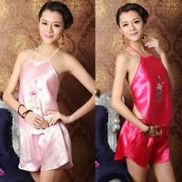 Lady Brocade Chinese DuDou Halter Neck Tops and Shorts Underwear Pajamas Retro