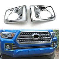 2x ABS Chrome Front DRL Fog Light Cover Bezel Trim For Toyota Tacoma 2016-2019