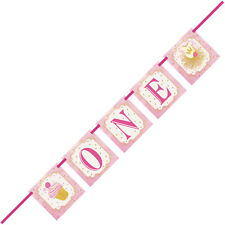 1st BIRTHDAY BANNER 'ONE' PINK & GOLD LETTER BANNER FOR 1st BIRTHDAY PINK & GOLD