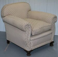 WALNUT CLAW AND BALL FEET FRAMED EDWARDIAN CLUB ARMCHAIR FEATHER FILLED CUSHION
