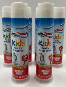 (6) AquaFresh Bubble Mint Toothpaste Kids Cavity Protection | Expires 7/2021!!!