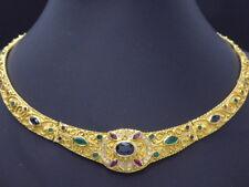 Collier Halskette GOLD Rubin Saphir Smaragd Brillanten Diamanten 18 Karat or oro