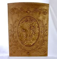 Victorian Cast Iron Fire Place Cover. High Relief Greek Scene in Central Oval.