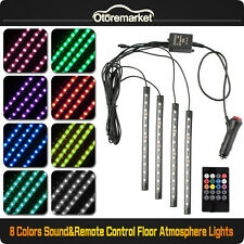 Car Interior Footwell Floor Decor Atmosphere Light 12 LED RGB Neon Strips Music