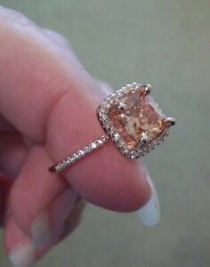 14k Rose Gold Finish/925 Champagne Morganite Topaz Accent Halo Ring SZ 6