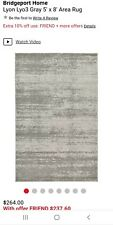 Bridgeport Home Dark Gray Grey Light Gray Area Rug 8'x5' NEW