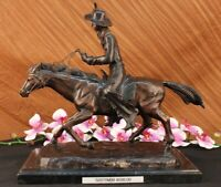 OLD WEST COWBOY WITH HORSE BRONZE SCULPTURE WESTERN ART REMINGTON FIGURINE DEAL