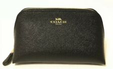 NWOT Coach F57857 Cosmetic Case 17 Travel Makeup Bag Leather Black/FAST SHIPPING