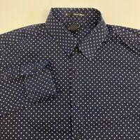 21 Men Button Up Shirt Men's Size Medium Long Sleeve Navy White Polka Dot Casual