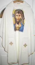 NEW-Chasuble Off White-Picture of Greek Jesus Icon Image & Stole-Holy Mass