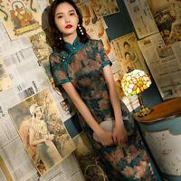 100% Real Silk Dress Women Long Cheongsam Green Party Qipao Chinese Size S-3XL