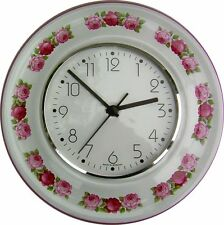 020342F Keramik Küchenuhr rund, Rosengirland, Pinkrand handbemalt,  Funkuhr