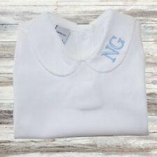 Personalised Peter Pan Collar Baby Grow Vest Sleepsuit, Boy Girl Initials