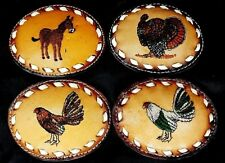 Leather Buckle FARM LIVESTOCK ANIMALS Donkey Rooster Turkey with Buckstitching