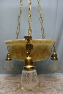 Antique Art Deco 4 Light Ceiling Chandelier Urns Frosted Etched Shades Rewired