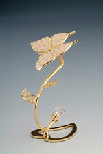 """SWAROVSKI CRYSTAL ELEMENTS """"Butterfly"""" FIGURINE - FREE STANDING 24KT GOLD PLATED"""