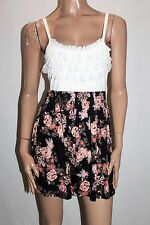 TEMT Brand Cream Floral Sleeveless Tea Dress Size S/M BNWT #SS41