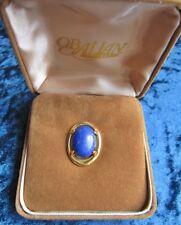Genuine 12 x 16 mm Lapis Lazuli Cabochon in Gold Tone Fining Tie Tack
