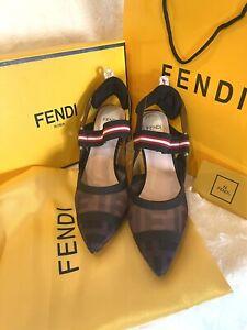 Fendi Runway Mesh Slingback Pumps Size 7