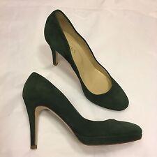 Zapatos De Cuero Hobbs Plataforma De Gamuza Verde oscuro Tacones Altos Tribunal UK 6/39
