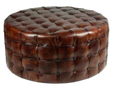 "36"" Round Ottoman Top Grain Tufted Buttery Leather Vintage Brown Special"
