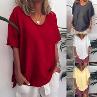 Women Summer Short Sleeve Tops Cotton Linen T-shirt Loose Blouse Tee Plus Size