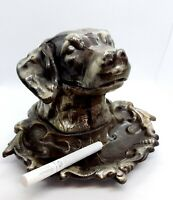 Ashtray Dog. Setter Metal USSR Soviet vintage Gray