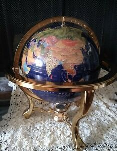 """Blue Lapis Gemstone Inlay World Globe Tabletop with Compass 18"""" Tall"""