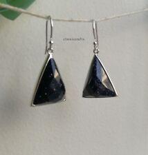 Genuine 925 sterling silver Navy Blue Sandstone dangle earrings