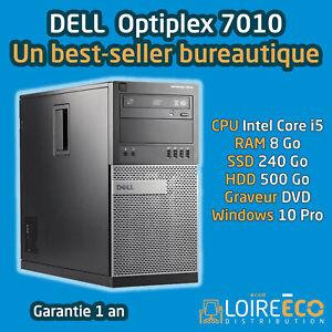 PC SSD i5 - DELL Optiplex 7010 - Core i5 - 8Go - SSD 240Go + HDD 500Go - W10 Pro