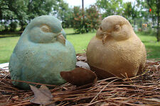 Two Plump Bird Statue Patina Stained Birds Concrete/Cement Yard Art