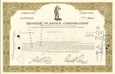 Pioneer Plastics Corporation > New Jersey stock certificate share scripophily