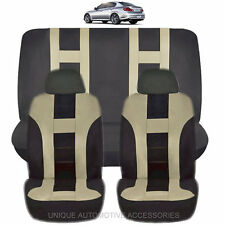 NEW BEIGE & BLACK POLYESTER AIRBAG READY SEAT COVERS COMBO 6PC SET FOR CARS 1123