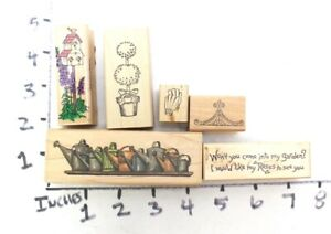 Wooden RUBBER STAMP Block Lot Garden Water Cans Gloves Tree House Topiary