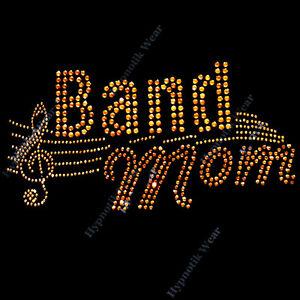 "Rhinestone Transfer "" Band Mom "" Iron On, Hotfix, Bling, Music Note"