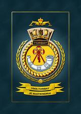 HMS TORBAY FRAMED SHIPS CRESTS - HUNDREDS OF HM SHIPS IN STOCK