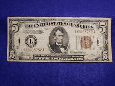1934 A - Hawaii $5 Federal Reserve Note - Circulated - L@@K
