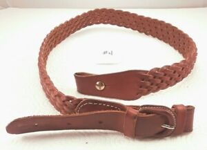 """Braided Leather Rifle Sling 34 Inches 1"""" Swivels Kassnar #4 Made in Spain"""