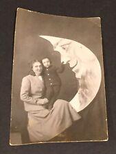 Vintage Paper Moon Photo PostCard Mother w/Child