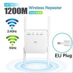 Repetidor WiFi 1200 Mbps Extensor WiFi Señal Amplificador 2.4G 5G RJ45 4 Antenas