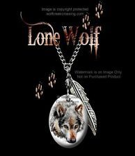 """Lone Wolf Necklace - Western Wildlife Art - Wild Wolves - 24"""" Chain - Free Ship*"""