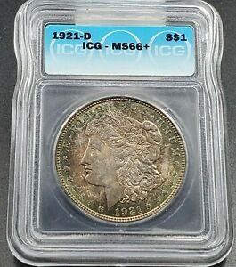 1921 D Morgan Silver Dollar Coin ICG MS66 + PLUS PQ * Rainbow Toning Obverse