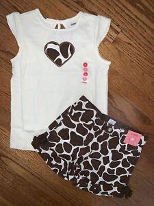 Gymboree NWT Sz 7/8 Safari Bow Back Heart Top & Bow Shorts Giraffe