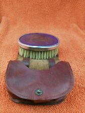 More details for antique sterling silver hallmarked purple brush in leather case , 1928