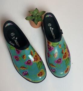 Sloggers Turquoise Pansy Waterproof Rain & Garden Shoe Women's Size 8