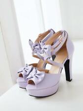 Women Bowknot Block Heels Sweet Peep Toe Cross Strappy Platform Sandals Shoes Sz