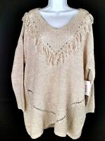 New JustFab Oatmeal Long Sleeve Sweater - Size 3X  Retail $57.95