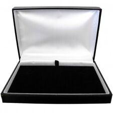 Luxury Leatherette Necklet Necklace Case Box Black Gold Stripe Gift  - SP828