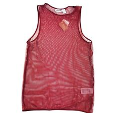 New Reebok Womens Mesh Tank Top Sleeveless Maroon Yoga Cover Up Sz XS Oversized