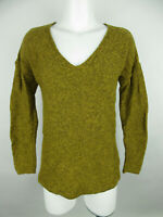 Old Navy Women's sz S Cotton V-Neck Long Sleeve Solid Gold Pullover Sweater